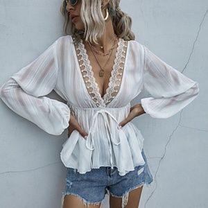 boho gypsy long sleeve babydoll vneck blouse